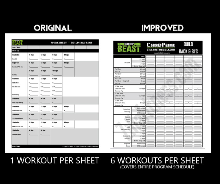 Body Beast Workout Sheets New and Improved