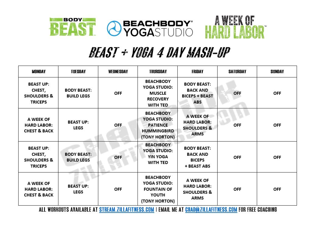 Body Beast Workout Schedule Yoga Hybrid